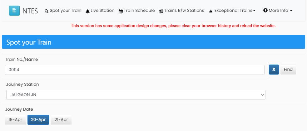 Check Live Train Running Status