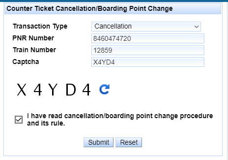Counter Ticket Cancellation Procedure