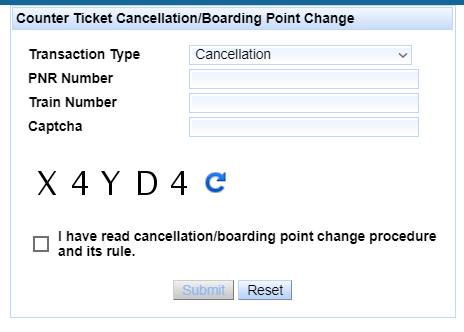 How to Cancel Counter Tickets through IRCTC Website