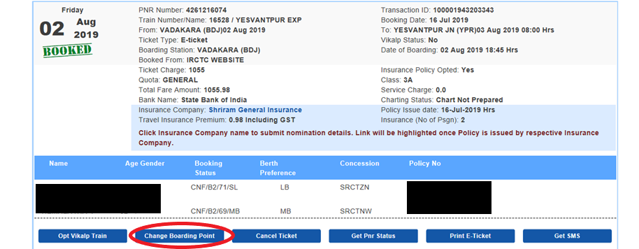 How to Change the Boarding Point through IRCTC Website