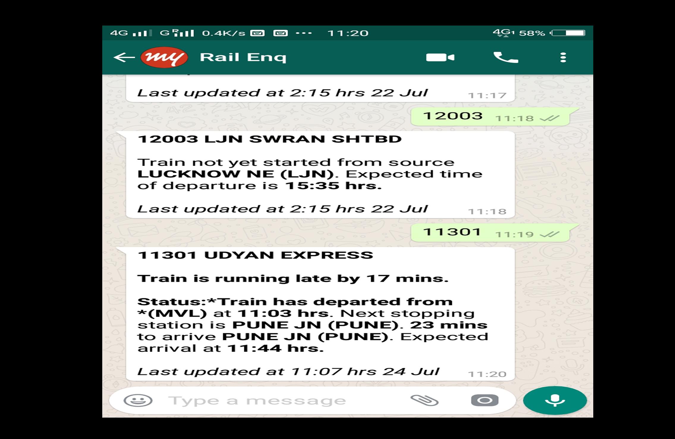 MakeMyTrip Train Enquiry on Whatsapp